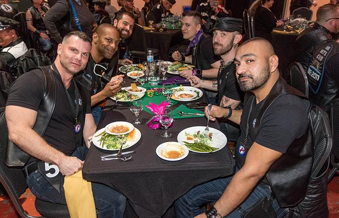 Leather events aren't always in bars. Here, attendees at the recent Leather Alliance dinner. At left, Mr. SF Leather 2019 Jawn Marques. Photo: Rich Stadtmiller