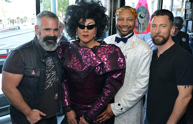 (left-right) Disco Coalition's Chris Hastings, Juanita MORE, Emperor Terrill Grimes and Aaron Wessels at Disco Coalition's premiere event at Lookout. photo: C.J. Knight