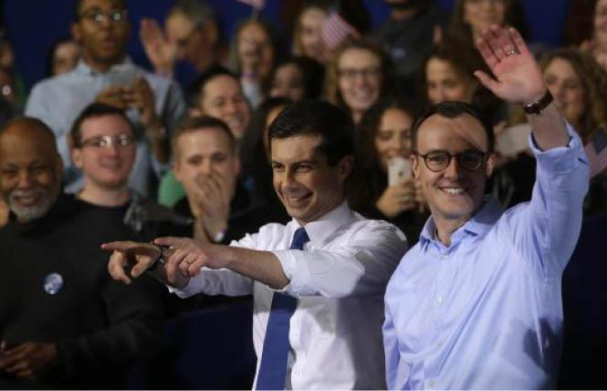 Democratic presidential candidate Pete Buttigieg, left, was joined by his husband, Chasten, after giving his announcement speech Sunday in South Bend, Indiana. Photo: Courtesy Agence France Presse