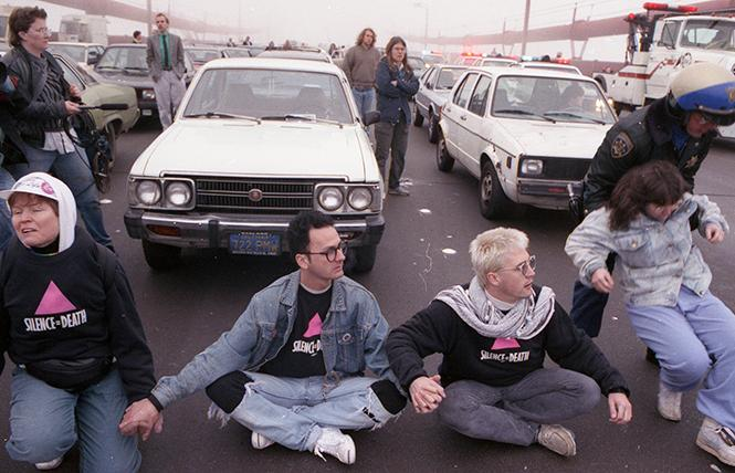 "Stop AIDS Now or Else (SANOE) protesters blocking the Golden Gate Bridge, 1989, photograph by Rick Gerharter, part of Oakland Museum's ""Queer California: Untold Stories."" Photo: Rick Gerharter"