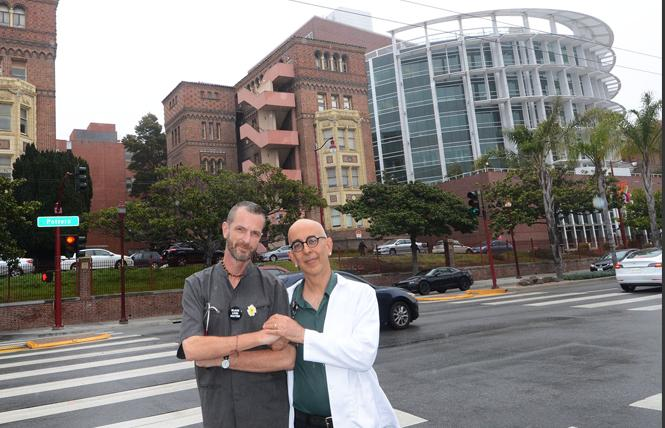 Zuckerberg San Francisco General Hospital registered nurses Guy Vandenberg, left, and Sasha Cuttler have alleged retaliatory action against them due to their advocacy around removing the Zuckerberg name from the hospital. Photo: Rick Gerharter