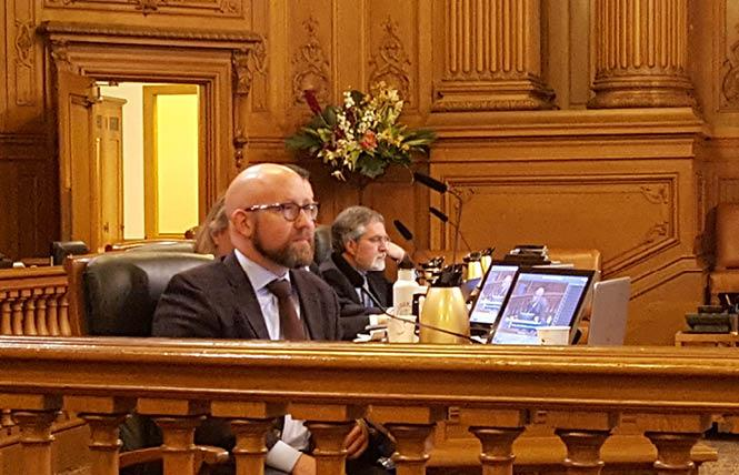 Supervisor Rafael Mandelman listens to presentations on the city's collection of sexual orientation and gender identity data at Thursday's hearing. Photo: Cynthia Laird