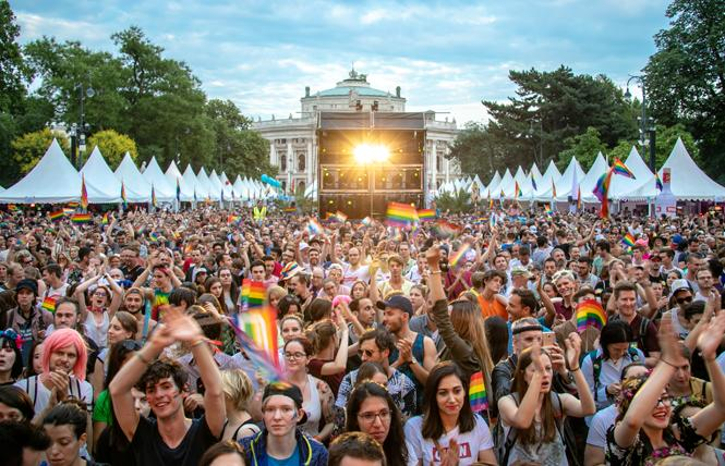 Vienna's Pride Village at the Town Hall was packed during the Pride festival. Photo: Martin Darling