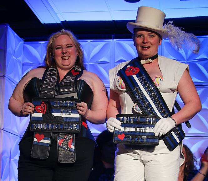 The newly-sashed International Ms. Bootblack 2019 (left), Gretchen, and International Ms. Leather 2019 (right), Haley. photo: Shilo McCabe