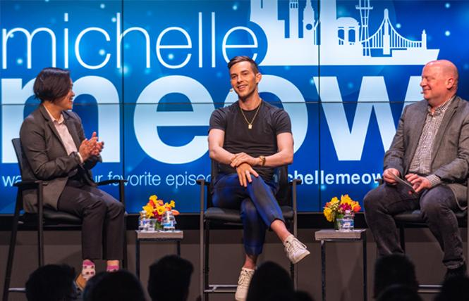 "Former Olympian Adam Rippon, center, talked about coming out and elite skating competitions with Michelle Meow, left, and John Zipperer Sunday on ""The Michelle Meow Show"" at the Commonwealth Club. Photo: Jane Philomen Cleland"