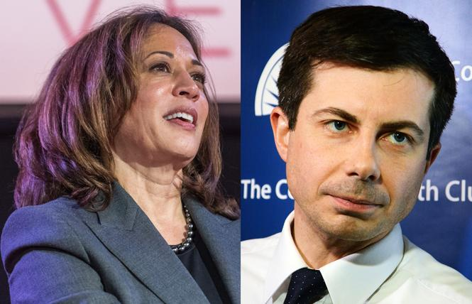Democratic presidential candidates Kamala Harris, left, and Pete Buttigieg. Photos: Harris, Jane Philomen Cleland; Buttigieg, Rick Gerharter