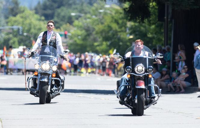 Dykes on Bikes from Lake County led last year's Sonoma County Pride parade in Santa Rosa. Photo: Loren Hansen/Loren Hansen Photography