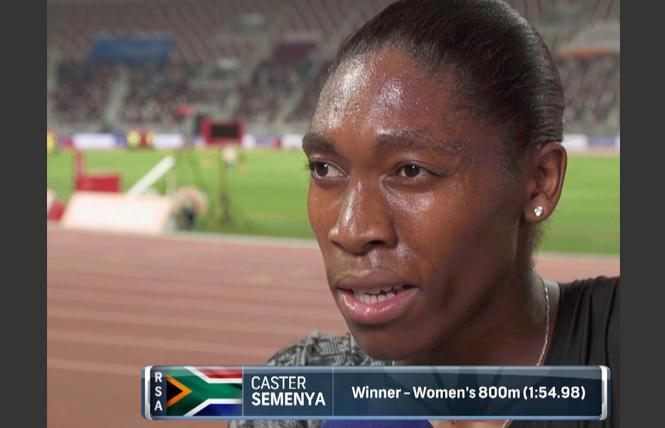A TV screen capture shows Caster Semenya after a victory at 800 meters over the weekend in Dubai.