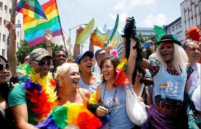 Mariela Castro Espin, director of CENESEX, marched in the annual Cuban Conga against Homophobia and Transphobia in Havana, Cuba. Photo: Courtesy For Human Liberation
