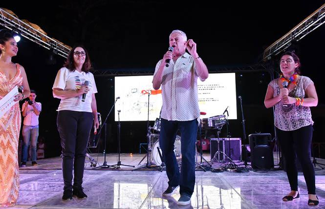 Mariela Castro Espin of CENESEX and Cleve Jones speak at an LGBT diversity party in Havana. Photo: Gooch