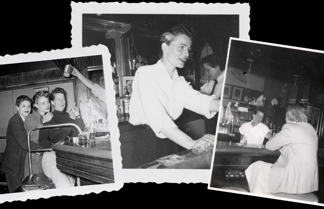 LEFT: Jean Sullivan (l), Joyce Van der Veer (c), and Grace Miller (R) at Tommy's Place. MIDDLE: Joyce at Tommy's Place, circa 1953. RIGHT: Grace Miller at Tommy's Place PHOTOS, LEFT AND RIGHT Grace Miller Papers (Glc 69), James C. Hormel LGBTQIA Center, San Francisco Public Library.