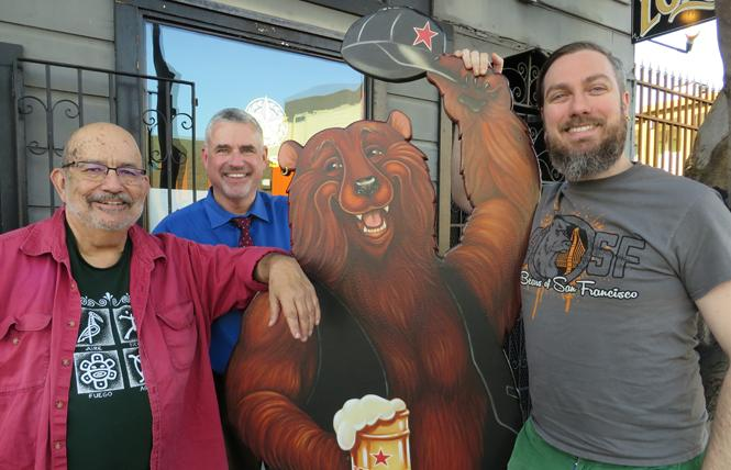 Bears of San Francisco steering committee members Larry Rivera, left, Jack Sugrue, and Erik Green stand in front of the Lone Star Saloon. Photo: Charlie Wagner