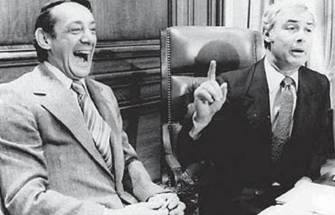 A photographer from the Associated Press in 1977 captured this iconic image of Supervisor Harvey Milk, left, and Mayor George Moscone inside San Francisco City Hall. Photo: Courtesy of Holt-Atherton Special Collections, University of the Pacific Library