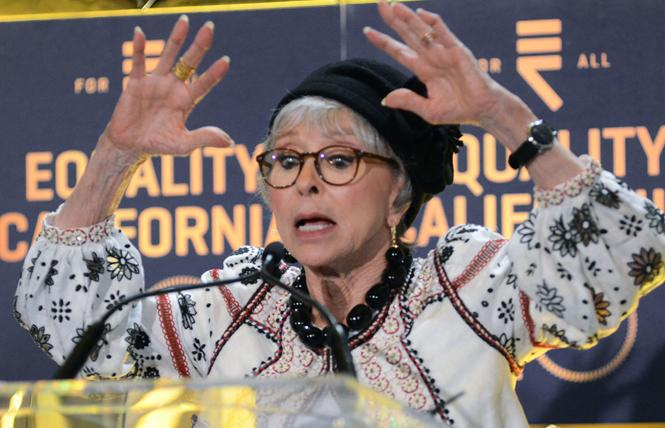 Actress Rita Moreno speaks at Equality California's 20th anniversary awards dinner, where she received the organization's Ally Leadership Award. Photo: Rick Gerharter