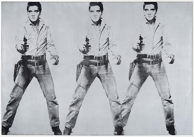 "Andy Warhol, ""Triple Elvis [Ferus Type]"" (1963), acrylic, spray paint, and silkscreen ink on linen. Photo: Andy Warhol Foundation for the Visual Arts, Inc./Artists Rights Society (ARS), NY"