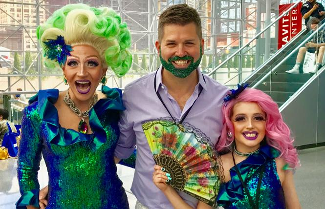 Courter Simmons, also known as Cacophony Daniels, left, joined his husband, Jason Cianciotto, and their son Derrik Simmons, dressed as Harmony Daniels, at RuPaul's Drag Con. Photo: Courtesy the Cianciotto-Simmons Family