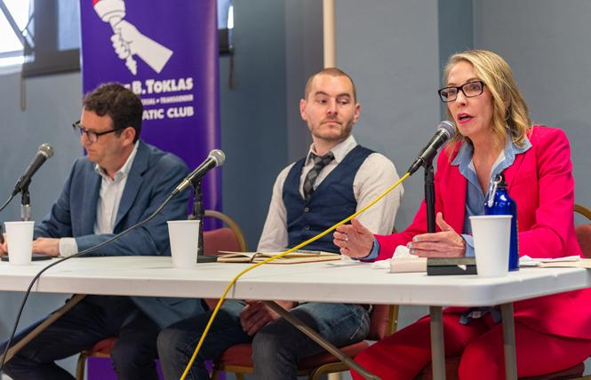 District 5 Supervisor Vallie Brown, right, speaks at a May 13 candidate forum sponsored by the Alice B. Toklas LGBT Democratic Club. Candidates Dean Preston, left, and Ryan Solomon also took part in the debate. Photo: Jane Philomen Cleland