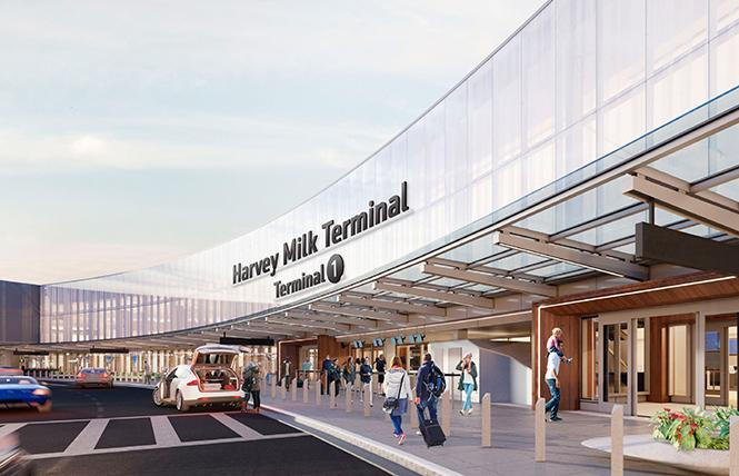 A new rendering depicts the exterior sign planned for the Harvey Milk Terminal at San Francisco International Airport. Courtesy SFO.