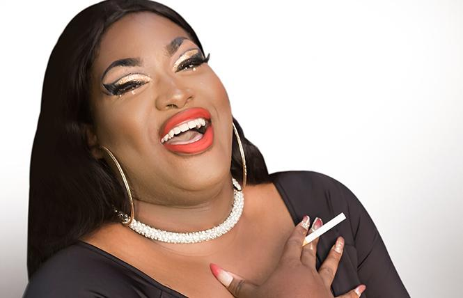 """Branden Noel Thomas as Deloris Van Cartier in the Theatre Rhinoceros production of """"Sister Act: The Musical,"""" directed and choreographed by AeJay Mitchell at the Gateway Theater. Photo: David Wilson"""