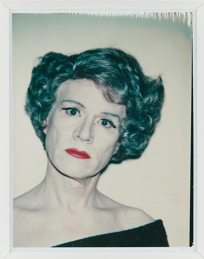 "Andy Warhol, ""Self Portrait (in drag)"" (1980-82), Polaroid, The Brant Foundation, Greenwich, CT. Photo: The Andy Warhol Foundation for the Visual Arts, Inc. /Artists Rights Society(ARS), NY"