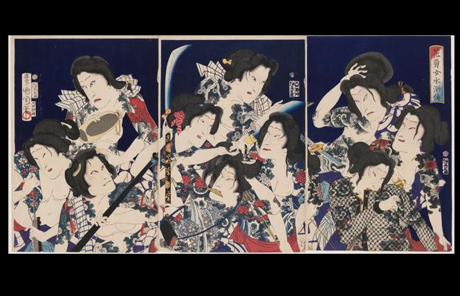 """A Water Margin of Beautiful and Brave Women: Actors Bando Hikosaburo V, Onoe Kikugoro V, Sawamura Tossho II (R), Otani Tomoemon V, Sawamura Tanosuke III, Iwai Shijaku II, Nakamura Shikan IV (C), Kawarazaki Gonnosuke VII, Bando Mitsugoro VI, and Ichikawa Kuzo III (L)"" (1869), by Toyohara Kunichika. Woodblock print; ink and colors on paper. Photo: Museum of Fine Arts, Boston"