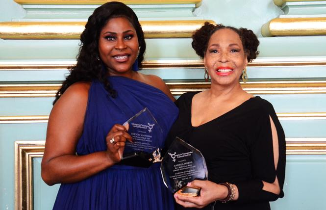 Breonna McCall, left, and Andrea Horne were recipients of Lifetime Achievement awards during the Celebration of Unsung Sheroes, a brunch held by the Compton's Transgender Cultural District June 2 in the Green Room at the San Francisco War Memorial. Photo: Rick Gerharter
