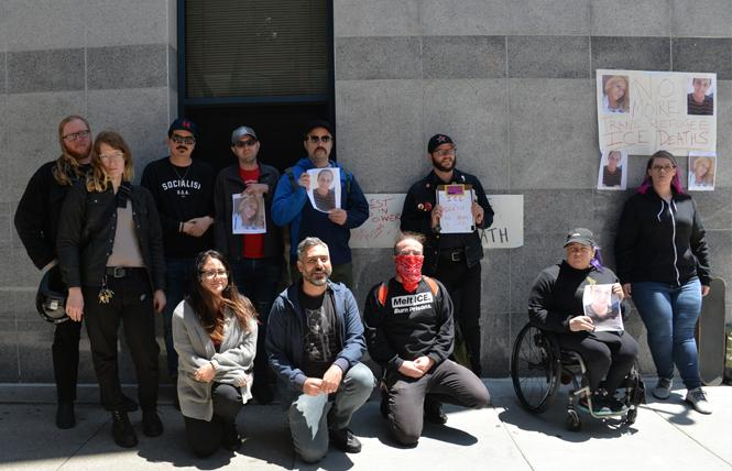 Activists led a protest Monday outside the Immigration and Customs Enforcement office in San Francisco to call attention to the deaths of two trans women, one of whom died last Saturday. Photo: Bill Wilson