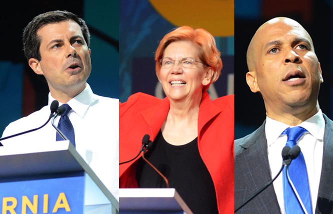 Democratic presidential candidates Pete Buttigieg, Elizabeth Warren, and Cory Booker addressed delegates at the California Democratic Party convention last weekend. Photos: Rick Gerharter
