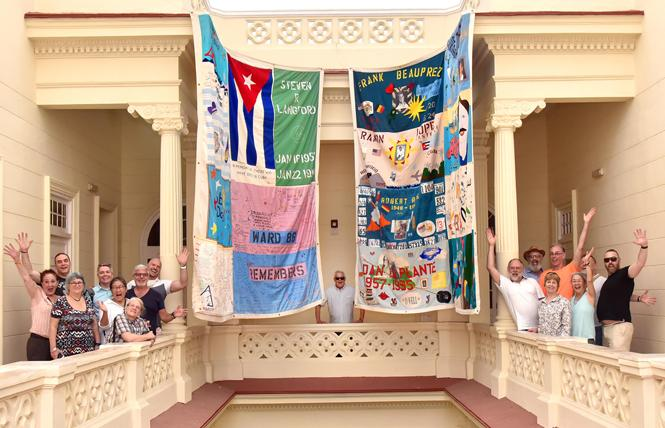 Cleve Jones, center, joined members of Rainbow World Fund delegation at CENESEX headquarters in Havana Cuba in May. This was the first time that the NAMES Project AIDS Memorial Quilt visited Cuba. Photo: Gooch