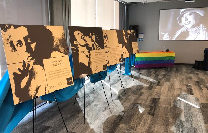 Mock-ups of Rainbow Honor Walk plaques were unveiled Monday and recognize, from left, Marie Equi, Freddie Mercury, Gerry Studds, Lou Sullivan, and Chavela Vargas. Photo: Matthew S. Bajko