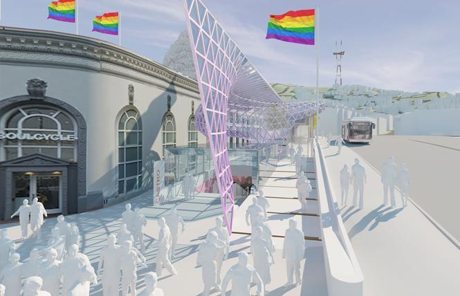 A new rendering of the canopy element for Harvey Milk Plaza. Photo: Courtesy Perkins Eastman