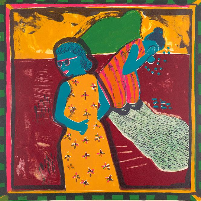 "Margo Humphrey, ""Crying ain't gonna help none, baby"" (1972); color lithograph; BAMPFA. Photo: Jonathan Bloom"