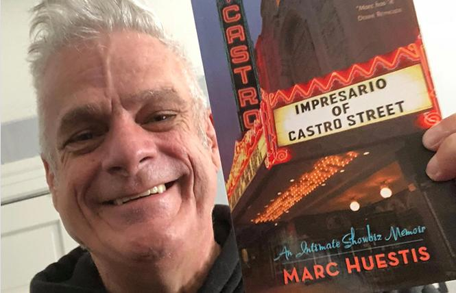 Marc Huestis gleefully hawks his new autobiography. Photo: Courtesy the subject
