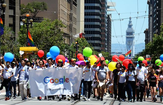 The Google contingent marched in last year's San Francisco Pride parade. Photo: Rick Gerharter