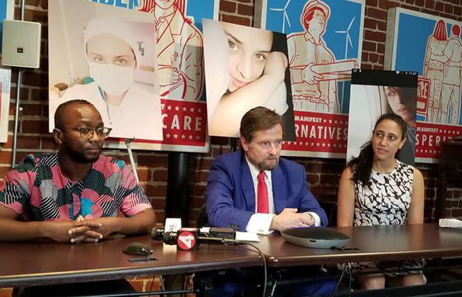Ola Osaze, left, joined attorney Christopher Dolan and Lynly Egyes during a Wednesday news conference in San Francisco, where Dolan announced he has filed a complaint with the U.S. Department of Homeland Security over the death of trans woman Johana Medina Leon. Photo: Meg Elison