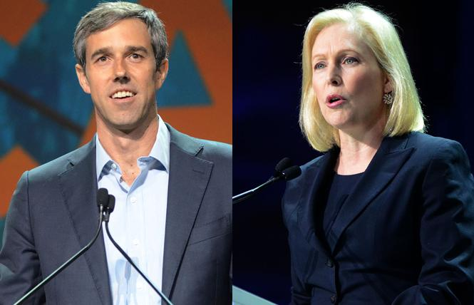 Democratic presidential candidates Beto O'Rourke and Kirsten Gillibrand have rolled out LGBT proposals. Photos: Rick Gerharter