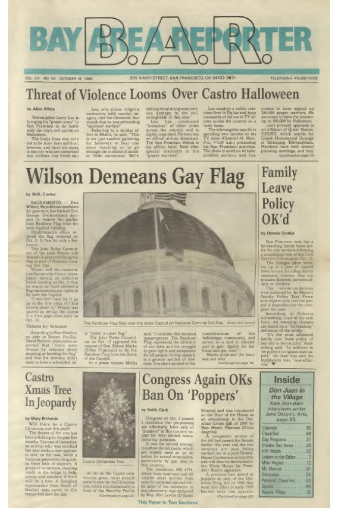 The October 18, 1990 issue of the Bay Area Reporter featured a photo of the Pride flag that flew briefly at the state Capitol on October 11 for National Coming Out Day. Photo: Bay Area Reporter archives