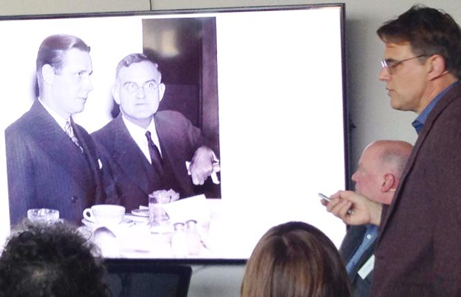 Robert Cutler, on screen in glasses, was a closeted gay man who served as national security adviser for President Dwight D. Eisenhower. His great-nephew, Peter Shinkle, right, recently wrote a book about Cutler. Photo: Veronica Dolginko