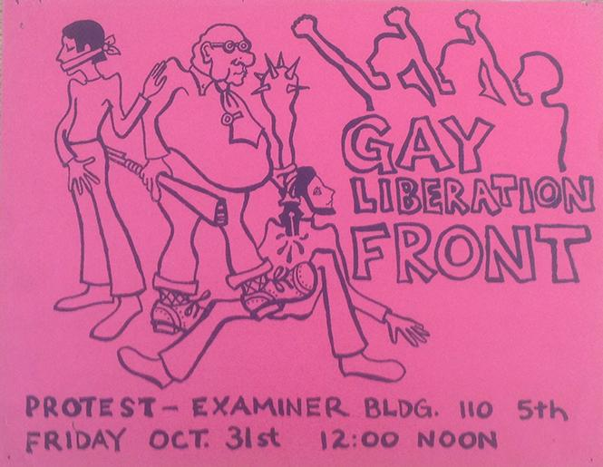 Flyer for Gay Liberation Front protest at the Examiner Building October 31, 1969, Courtesy of the GLBT Historical Society