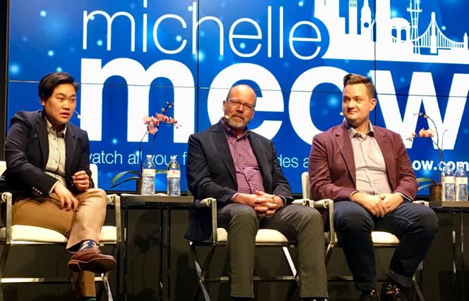 """Michelle Meow, left, host of """"The Michelle Meow Show"""" at the Commonwealth Club, talked with aging experts Tom Grothe and Jason Flatt about issues affecting LGBT seniors. Photo: Sari Staver"""