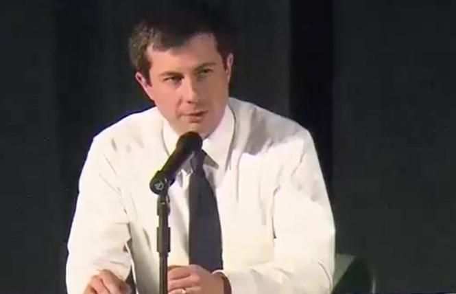Pete Buttigieg, mayor of South Bend and a leading Democratic presidential candidate, speaks at a tense town hall in his hometown Sunday. Screenshot