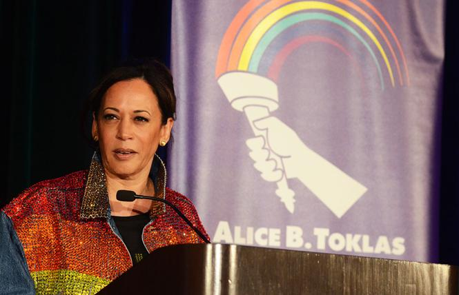 Democratic presidential candidate Senator Kamala Harris addresses the Alice B. Toklas LGBT Democratic Club's Pride breakfast Sunday, June 30. Photo: Rick Gerharter