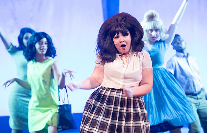 "Cassie Grilley (""Tracy Turnblad"") and company members in Bay Area Musicals' production of ""Hairspray."" Photo: Ben Krantz Studio"