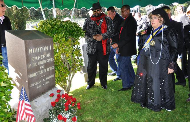Jose Sarria, the Widow Norton, visited the grave of the Emperor Joshua Norton, at Woodlawn Cemetery in Colma, during her annual pilgrimage to the gravesite in 2011. Photo: Rick Gerharter