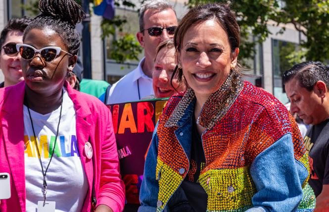 Kamala Harris took part in last month's San Francisco Pride parade. Photo: Jane Philomen Cleland
