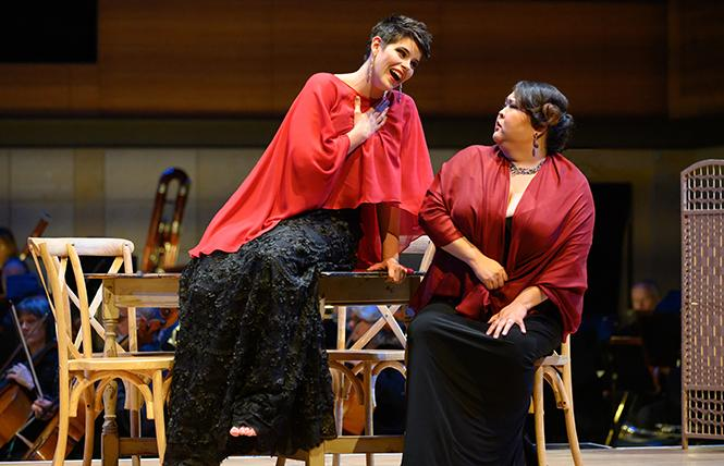 "(L-R) Chelsea Lehnea (Soprano) and Alice Chung (Mezzo-soprano) performing selections of Donizetti's ""Lucia di Lammermoor"" in Merola Opera Program's Schwabacher Summer Concert at the San Francisco Conservatory of Music. Photo: Kristen Loken"