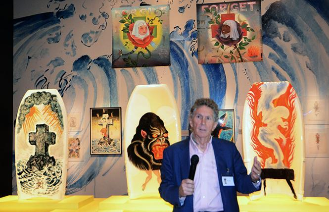 "Ed Hardy speaks about his designs printed on boogie boards, on display as part of the exhibit ""Ed Hardy: Deeper than Skin"" now at the de Young Museum. Photo: Rick Gerharter"