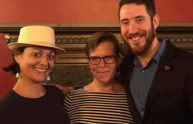 Sex-Positive SF Dems president Mark Press, right, was joined by Rebecca Motola-Barnes, left, the club's internal communications director, and Christine Genero, vice president of events, at a happy hour for members earlier this year. Photo: Courtesy Mark Press