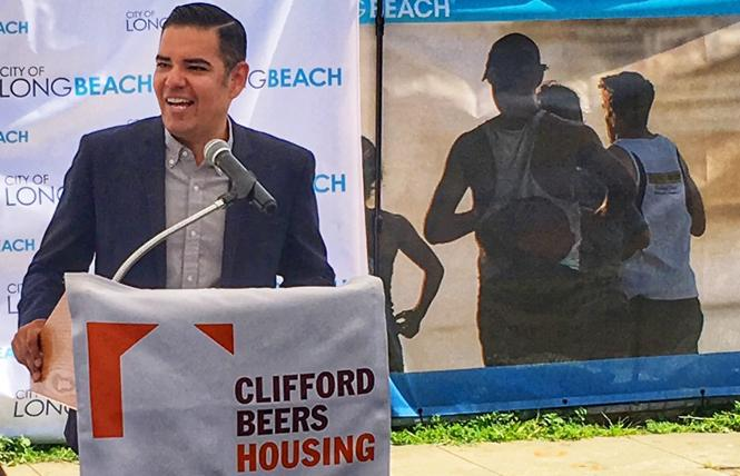 Long Beach Mayor Robert Garcia speaks at a housing news conference. Photo: Courtesy Mayor's office