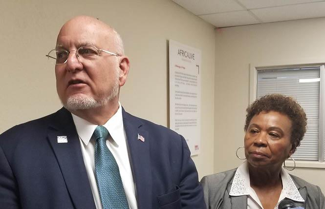CDC Director Dr. Robert R. Redfield, and Congresswoman Barbara Lee spoke in Oakland Friday. Photo: Meg Elison